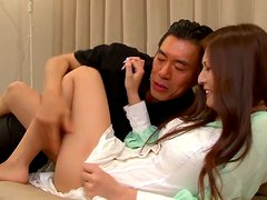 Pretty Yuna Shiinas gets fucked and jizzed on in a kitchen