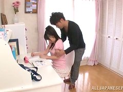 Japanese chick gets fondled and licks some dude's prick