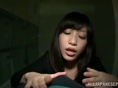 A wang loving Asian teen on her knees tugging