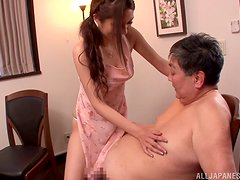 Asian stunner must fuck her father in law to be