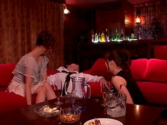 Miyu Hoshino and Saki play with a drunk man's cock