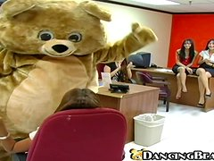 Office chicks watch striptease and get fucked hard