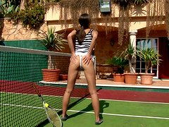 Sexy tennis player Caprice gets naughty on the court