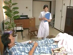 Slutty Japanese nurse gets her cunt licked and fucked