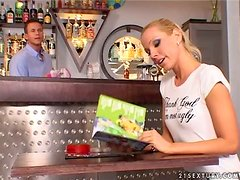 Sexy brunette and lusty blond are fucking the waiter