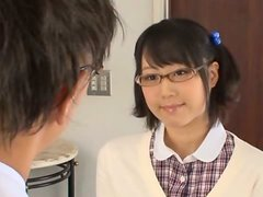 Pigtailed Kokoro Kawai gives a blowjob to her friend's father