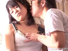 Slutty Japanese chick gets fucked in a bus in her sleep
