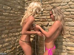 Two hot blondes take a shower and then have FFM sex