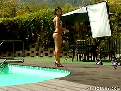 Brunette Kyra Black gets fucked in a threesome by the pool