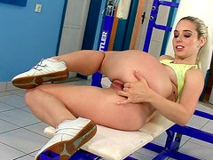 Kady finger-fucks her stretchy cooch in a gym and moans sweetly