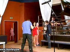 Horny Lee Lexxus has foursome sex in a backstage video
