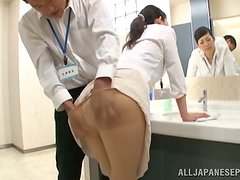 Oral sex in the bathroom with a naughty Japanese office lady