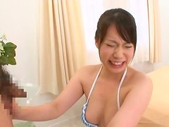 Sweet looking An Shinohara in mini bikini makes a guy cum