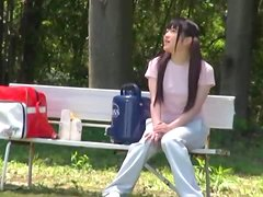 Riona Minami gets naughty with a few men on a baseball field