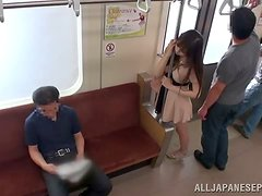 Slutty chick gets fucked by two horny dudes in a train
