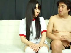 Marin Aono the babe in school uniform sucks a dick