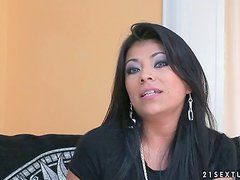 Yoha the pretty brunette MILF gives an interview