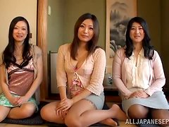 Three naughty babes share their new colleague's cock