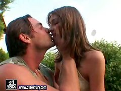 Outdoors Sex and Facial Cumshot for Sexy Brunette Babe