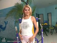 Beautiful Blonde Jasmine Rouge Working Out Her Pussy in the Gym