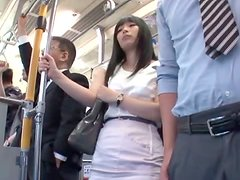 Slutty Japanese girl gets fucked in a crowded metro train