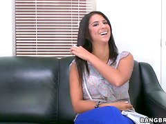 Sexy brunette Evi Fox enjoys some hot banging at a casting