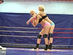 Antonya & Sophie Moone wrestling and sexing at Nude Fight Club
