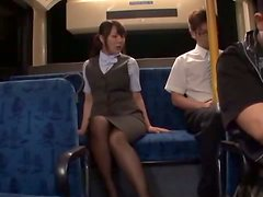 Busty Japanese babe undresses and gets fucked in a bus
