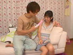 Kokoro Kawai moans loudly while getting her vag slammed with a toy