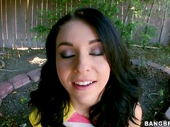Hot brunette Madelyn Monroe sucks and rubs a cock outdoors