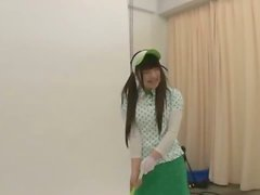 Sexy Japanese girl in green golf outfit gets fucked hard