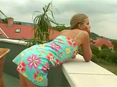 Stunning Barbara fingers and stuffs her hot pussy outdoors