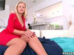 Mature blonde Holly blows and gets her pierced pussy drilled