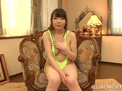 An enticing Asian teen has got her sex outfit on