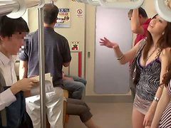 Kinky Japanese girl sucks a cock in a subway train