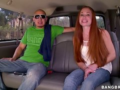 Long-haired Aurora Raven gets fucked doggy style in the bangbus
