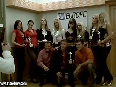 European Pornstars and Crew Celebrating the Trophy