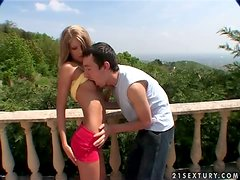 Lovely Cayenne Klein gets fucked hard on a balcony