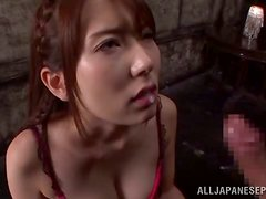 Sizzling Japanese girl drives some dude mad with a perfect blowjob