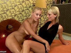 Pearl Diamond & A Fresher Blonde Hottie Using A Dildo