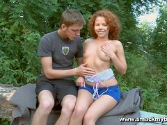 Spunk loving redhead gets fucked outdoors