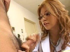 Orgasm hungry Asian doctor gives her patient a handjob