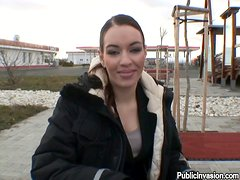Gorgeous Stella blows a dick outdoors on cold fall day