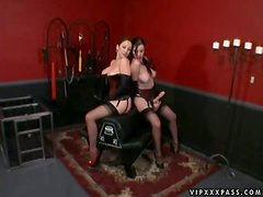 Latex Love and Strapon Action with Dominatrix and Submissive Babes