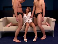 Horny hussy has her clit tickled and enjoys two wangs