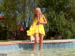 Five Fingers Inside a Beautiful Blonde Babe's Pussy in the Pool
