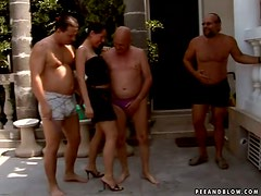 A great grandpa gangbang with Orsay taking copious amounts of cock