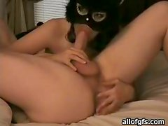 Catwoman makes a prostate massage to her boyfriend