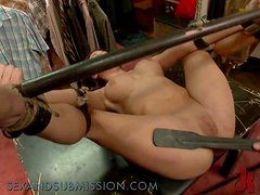 Brunette gets wildly fucked in the clothes shop.