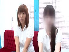 Smiley Japanese model in school uniform rides a stiff cock